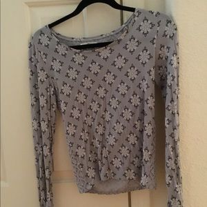 Grey Aeropostale Long Tee with Flowers